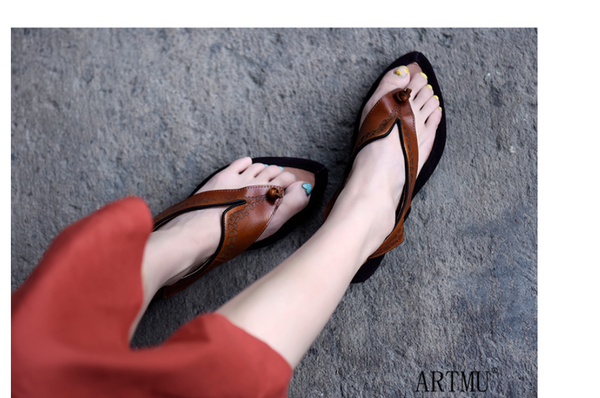 ARTMU TOE POST SANDALS WITH MIXED PRINT