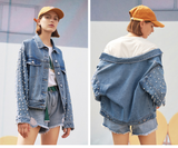 TOYOUTH WASH OLD DENIM JACKET WITH PEARL EMBELLISHMENT O8911405021