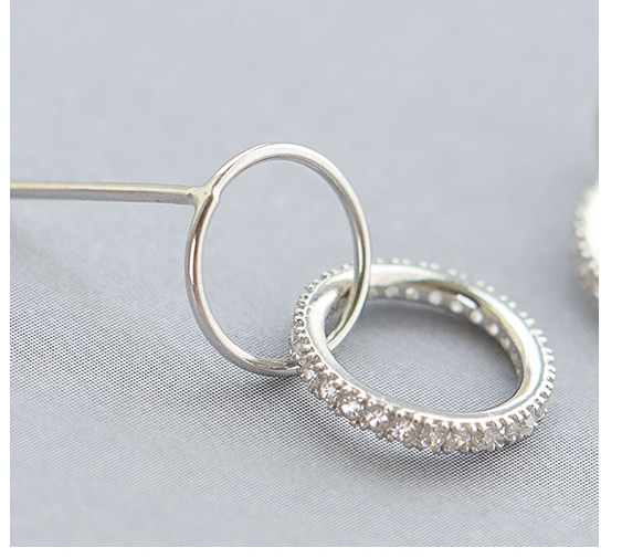 SILVER OF LIFE 925 TUBE HOOP SILVER EARRINGS WITH CRYSTAL DETAIL - boopdo
