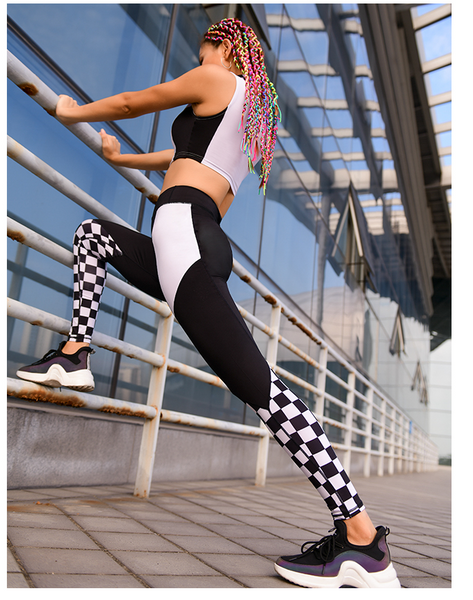 MIP COLOR BLOCK AND CHECK DETAIL LEGGINGS - boopdo