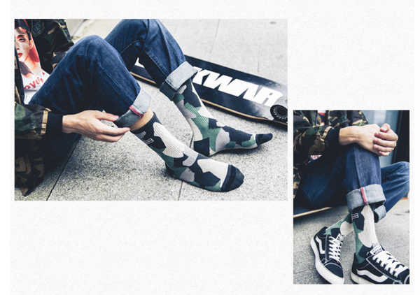 ACALEN THREE PACK SOCKS IN CAMO PRINT - boopdo