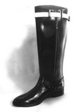 JINIWU VANGUARD GAMME BUCKLE LONG LEATHER BOOTS IN BLACK - boopdo
