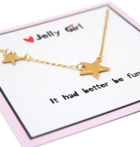 JELLY GIRL 18K GOLD DOUBLE STARS PENDANT NECKLACE - boopdo