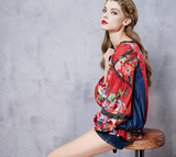 ARTKA RED FLORAL PRINT BLOUSE WITH DENIM SIDE DETAIL