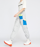 BOOPDO EXCLUSIVE WOLF GREY CARGO TROUSERS WITH MULTICOLOR POCKET DESIGN 8831902031