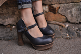 ARTMU VINTAGE INSPIRED BLOCK HEELED HIGH SHOES - boopdo