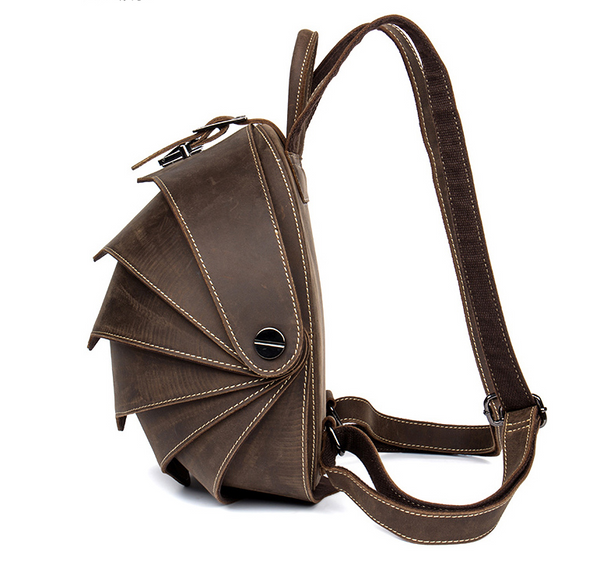MANTIME BEETLE HANDMADE CASUAL LEATHER BACKPACK IN BROWN - boopdo