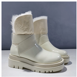 JAPIEOR OYXO PLUSH COTTON LEATHER ANKLE BOOTS - boopdo