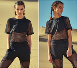 Caggeen chain mesh top with bralet in black