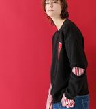 TOYOUTH TWO FER SWEATSHIRT WITH Y EMBROIDERED 8740521003 BLACK RED - boopdo