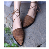 ARTMU LEATHER WOVEN MULES WITH ANKLE TIES - boopdo