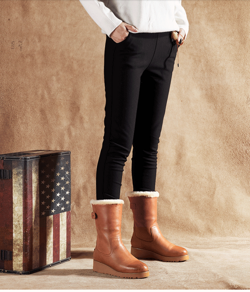 FABRINEO CHESTNUT LEATHER BOOTS WITH BACK ZIP DETAIL - boopdo