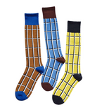 MONDAYS CHECKERBOARD DESIGN LONG SOCKS