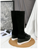 DESTROZA FREADA SASSY VELVET WEDGED KNEE HIGH LEATHER BOOTIES