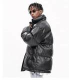 OYXO BTW HIGH NECK URBAN STYLE FAUX LEATHER BOMBER JACKET - boopdo