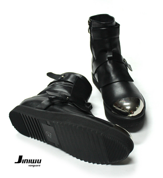 JINIWU VANGUARD HAND PAINTED IRON TOE LEATHER ANKLE BOOTS IN BLACK - boopdo
