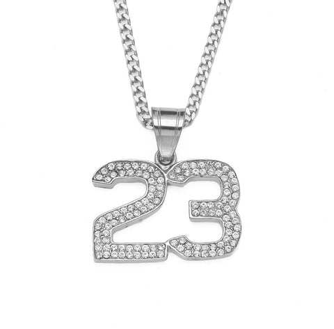 AZEEPA ZONIYA STAINLESS STEEL DIAMOND NUMBER 23 JERSEY NECKLACE IN SILVER