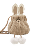 ARTMI EDITION FAUX FUR CROSS BODY BUCKET BAG IN RABBIT FIGURED AEE8868