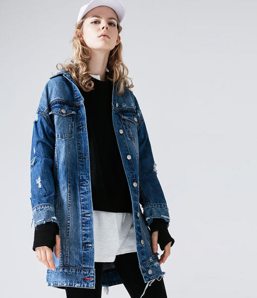 TOYOUTH EDITION BLUE WASH LONGLINE DENIM JACKET 8731405002
