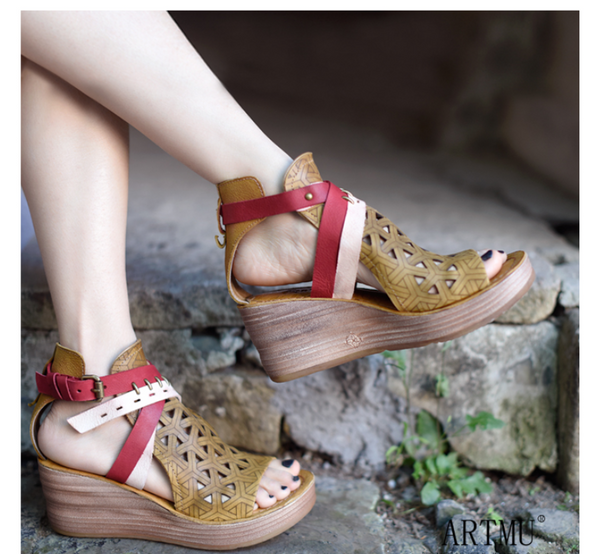 ARTMU WEDGE SANDALS WITH BUCKLE DESIGN
