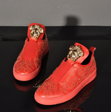 SUDEA TROPMY HANDMADE POP STAR STYLE CASUAL LEATHER SHOES IN RED