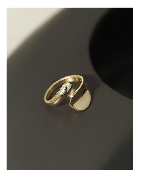 UZL DESIGN GOLD PLATED OPEN END TWIST RING - boopdo
