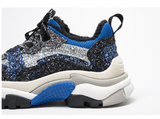 BELLALILY BLUE AND BLACK CHUNKY TRAINERS IN GLITTER - boopdo