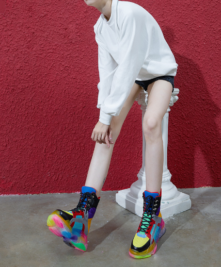 FOXY CHICK ELIZABETH LOPEZ CHUNKY PLATFORM SNEAKER BOOTS IN RAINBOW - boopdo