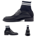 JINIWU VANGUARD LEATHER SHOES IN BLACK WITH SOCK - boopdo