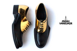 JINIWU VANGUARD HANDMADE GEOMETRY BANQUET LEATHER SHOES IN GOLD BLACK - boopdo