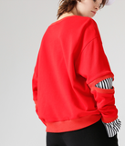 TOYOUTH TWO FER SWEATSHIRT WITH Y EMBROIDERED 8740521003 BLACK RED