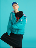 TOYOUTH COLOR HOODED PUFFER JACKET IN LETTERS   PRINT FRONT 8830842000a BLACK BLUE TURQUOISE - boopdo
