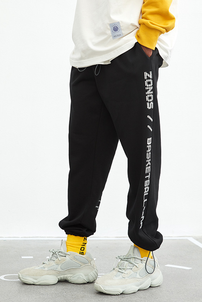 ZONOS BASKETBALL SPORTSWEAR CASUAL TRACK PANTS IN BLACK - boopdo