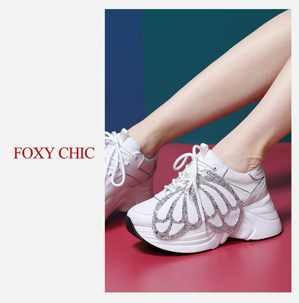 FOXY CHIC DELILAH KATE STYLE CHUNKY SOLE WOMEN SNEAKER WITH WING - boopdo