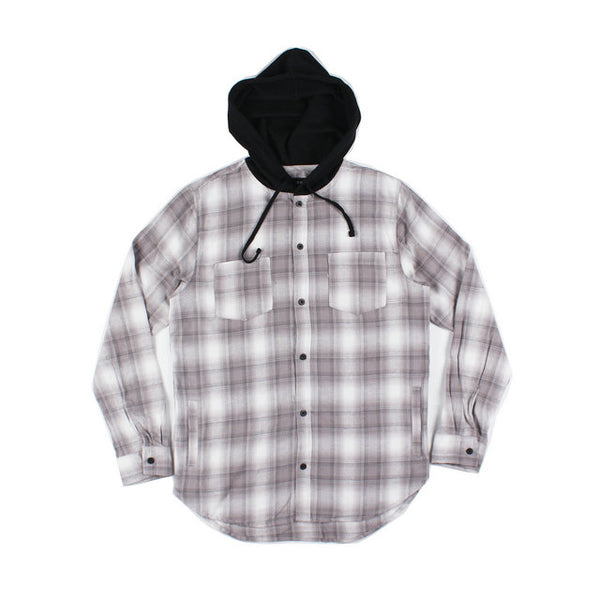 HUDZON PLAID COTTON LONG SLEEVED SHIRT WITH HOODIE - boopdo