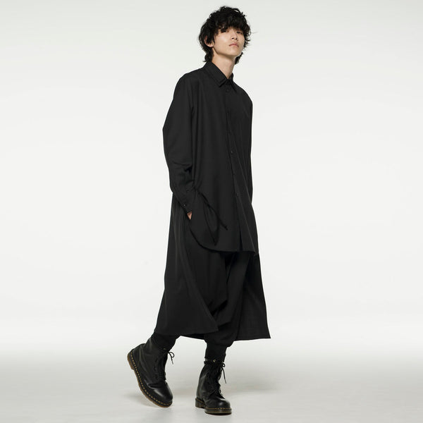 YOHJO KIMONO VERSATILE BACK MID LENGTH CASUAL JACKET IN BLACK - boopdo
