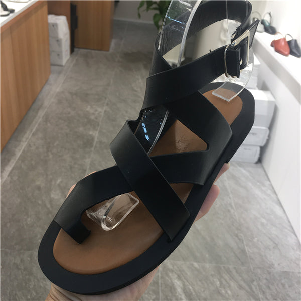 LUXE SEVEN DESIGN TOE LOOP SANDALS WITH ANKLE STRAP - boopdo