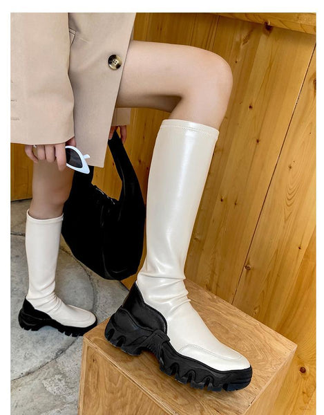 JESSIA ELLE REED BROOKLYN URBAN STYLE CHUNKY SOLE KNEE HIGH BOOTS - boopdo