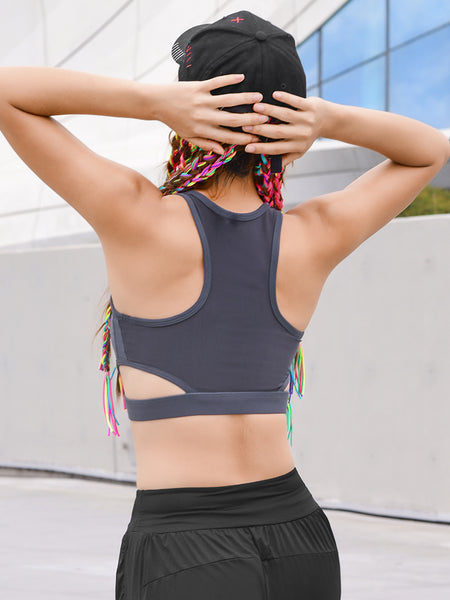 MIP ZIP FRONT SPORTS BRA WITH LOGO PRINT