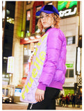 MAXMARTIN LILAC PADDED JACKET WITH PATCH WORK DESIGN M82208R74