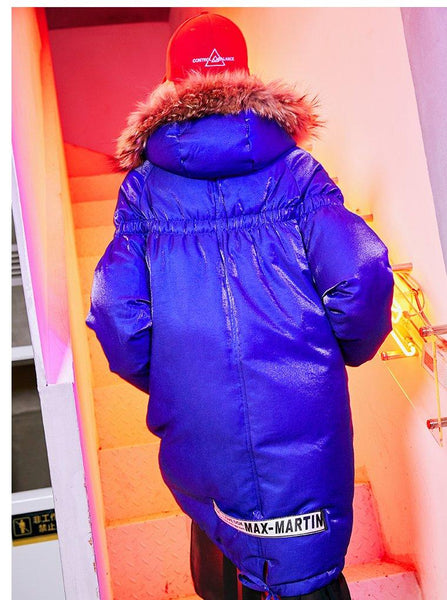 MAXMARTIN HIGH SHINE ROYAL BLUE FAUX FUR PUFFER COAT WITH LETTERS PATCH M82181R84 - boopdo