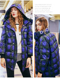 MAXMARTIN BLUE CHECK PADDED JACKET WITH MATCH SCARF M83301R24 - boopdo