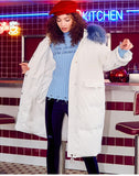 MAXMARTIN LONGLINE WHITE PADDED COAT WITH BLUE FAUX FUR HOOD