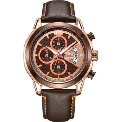 MEGIA CHRONOGRAPH LEATHER BELT CASUAL BUSINESS WATCH