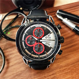 MEGIA CHRONOGRAPH LEATHER BELT CASUAL BUSINESS WATCH - boopdo