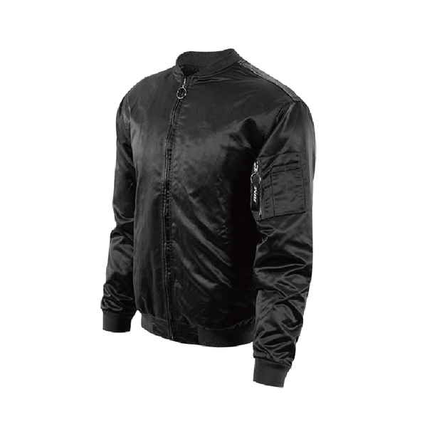 zonos basketball concept design by zoneid satin pilot jacket in black and gray