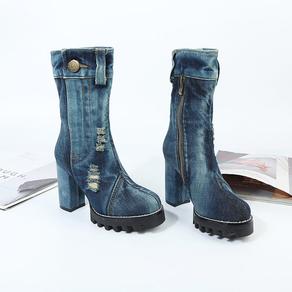 BOOPDO CLOTH UPEXLIA CANVAS DENIM JEAN BOOTS IN BLUE