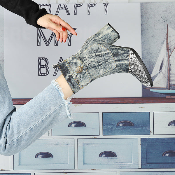 MARTINA FRANKLIN CANVAS DENIM JEAN ANKLE BOOTS