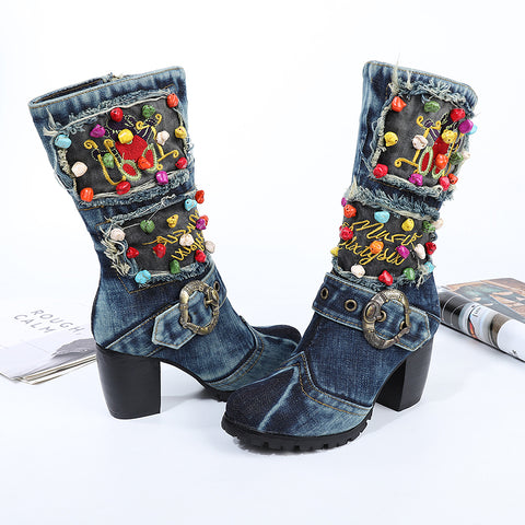BOOPDO ARTISTIC DESIGN LUXILO WASHED DENIM JEAN HIGH HEEL BOOTS IN NAVY