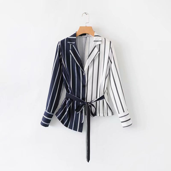 Oralika Zebra Stripe Irregular Chic Shirt In White Black